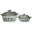 Corning Ware Country Festival 1 1/2 Quart Covered Casserole and 1 3/4 Cup Petite Pan with Lid