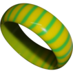Vintage Bright Yellow and Lime Green Pinstriped Lucite Bangle Bracelet