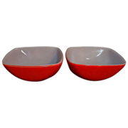 Two Red Vintage Pyrex 12 oz. Square Dishes/Bowls