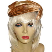 SALE Light Brown Velour Asymmetrical Hat with Rhinestone Accents by Janet