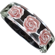 Clear Reverse Carved Lucite Floral Hinge Bracelet