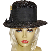 Vintage Black Straw Hat with Faux Pearl Accent