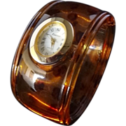 SALE Vintage Tortoiseshell Lucite Hinged Bangle Watch