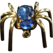 Vintage 1940's Blue Czech Glass Spider Pin