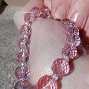 Dazzling Art Deco Sterling and Pink Prism-Faceted Glass Beaded Necklace