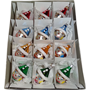 12 Vintage Polish Hand Made Glass Clown Christmas Ornaments MINT in Original Box
