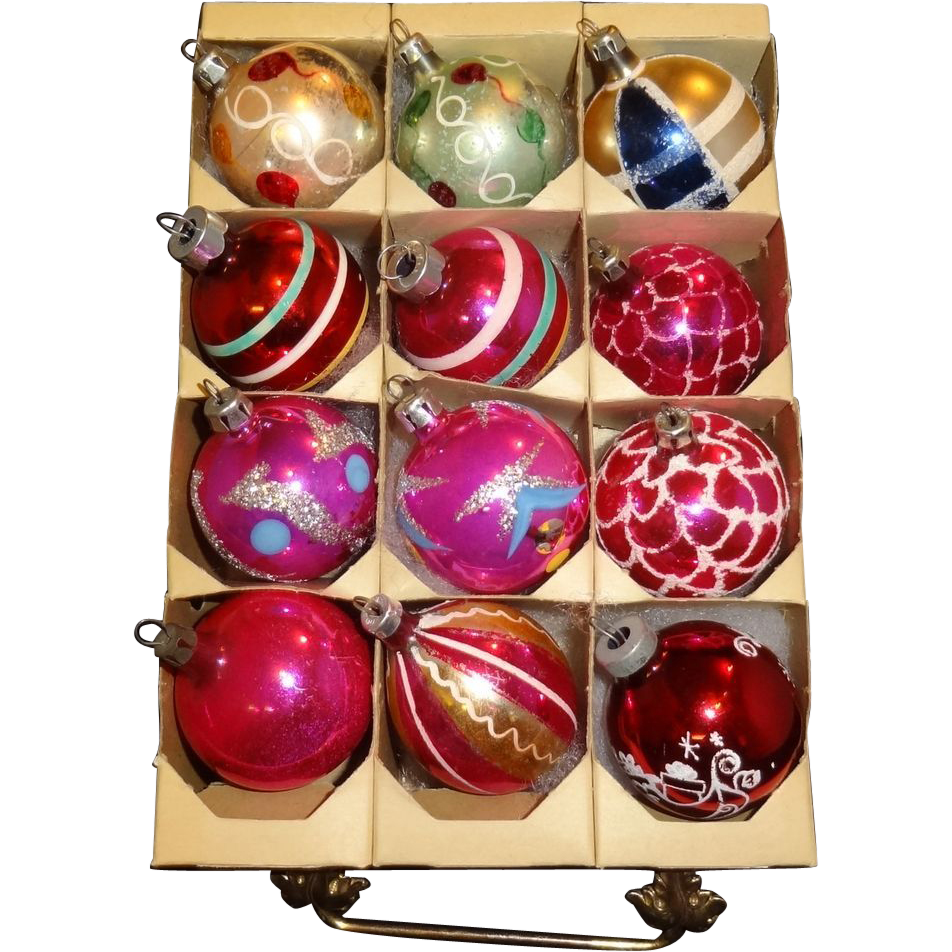 12 Assorted Polish, American and West German Small Glass Christmas Ornaments