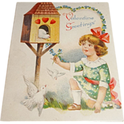 Vintage German Die-Cut Fold Out Valentine &quot;Valentine Greetings&quot;