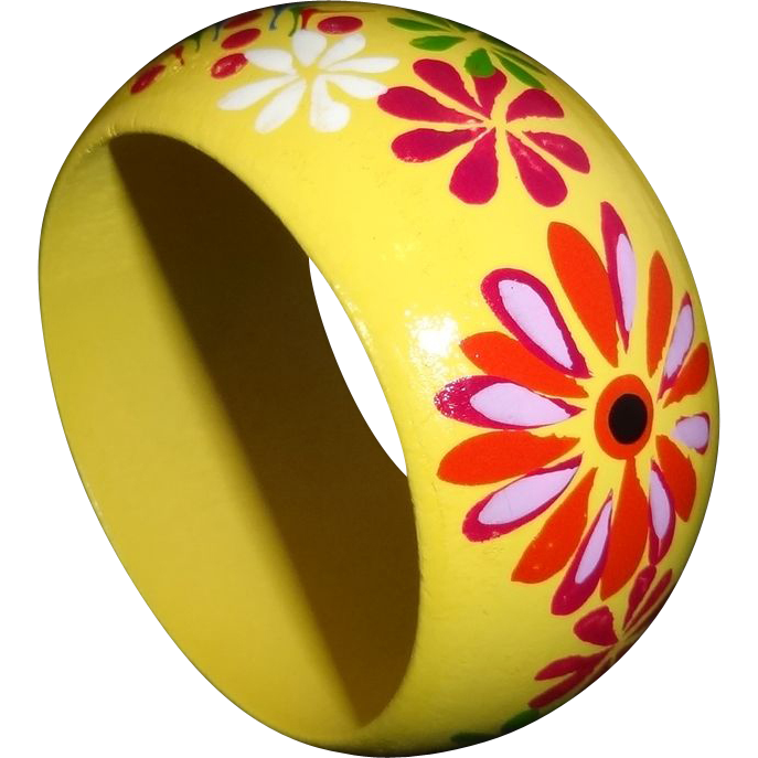 Vintage Wide Yellow Floral Wooden Bangle Bracelet