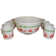 Vintage 1950's Hazel Atlas Tom and Jerry Punch Bowl Set
