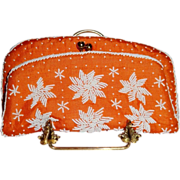 Vintage Hand Beaded Orange Silk Purse by Magid