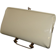 Sixties Vintage Shiny Off-White Vinyl Convertible Clutch Purse
