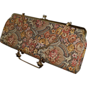 Vintage Extra Long Tapestry Convertible Clutch Purse by HL