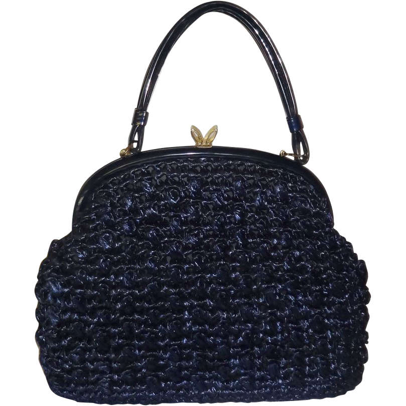 Vintage Large Structured Navy Blue Raffia Handbag