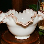 "Mid-40s Fenton Rose Crest 7"" Double Crimped Bowl"