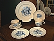 Universal Potteries Camwood Ivory Blue Fruit Pastry Set ~ 22 Carat Gold