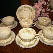 "Set of 6 Syracuse China ""Dearborn"" Rare Footed Cups & Saucers"