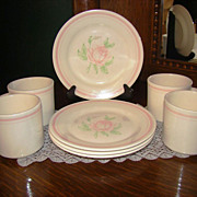 Oxford Brazil Pink Rose Breakfast/Dessert Set for Four