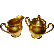 Pickard China Gold Encrusted Rose and Daisy Creamer & Covered Sugar