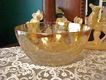 "Floragold 9 1/2"" Deep Salad Bowl by Jeanette Glass Company~1950s"