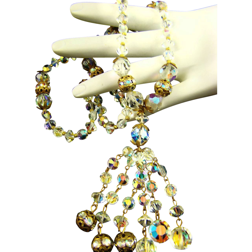 Stunning Old Aurora Borealis Crystal & Rhinestone Rondelle Tassel Necklace