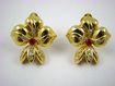 Polished Gold Tone and Rhinestone Fleur de Lis Earrings