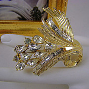 SALE HALF PRICE Coro Pegasus Pear & Baguette Rhinestone Brooch ~ Back Street Collection