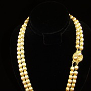 Double Strand Gold Tone Corrugated Bead Necklace