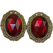 SALE HALF PRICE Old Ruby Red Glass Oval Earrings