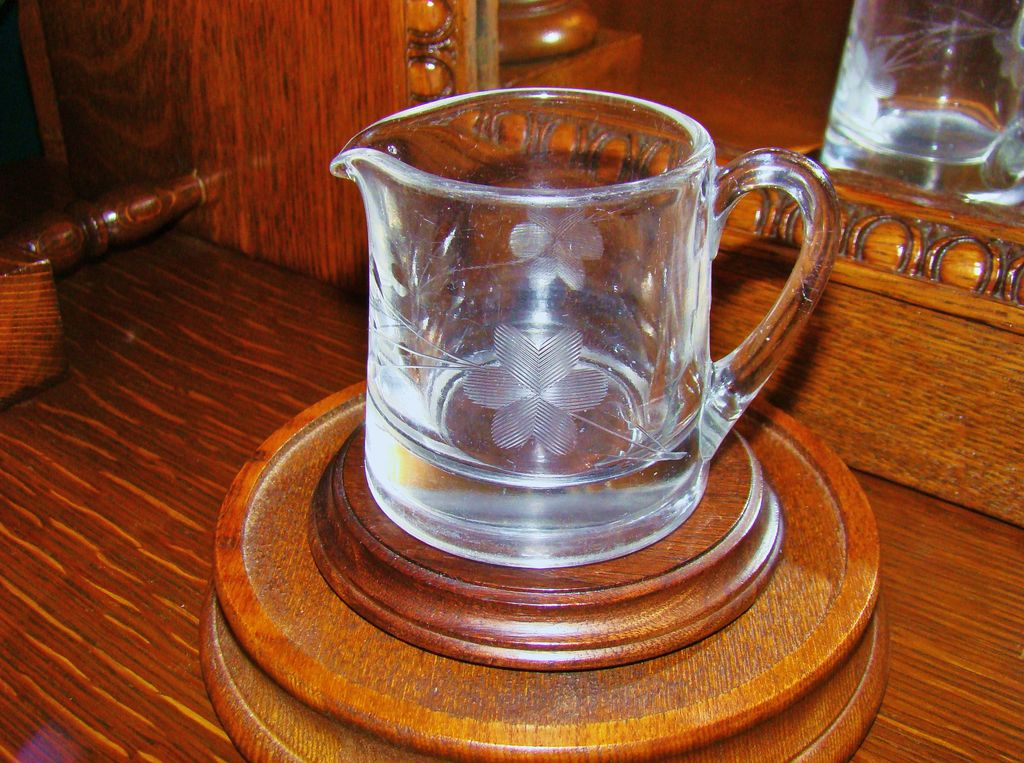 Very Old Creamer with Cut Glass Floral Spray