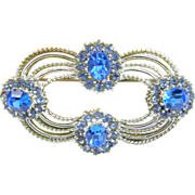 Pristine 1938 Coro Craft Pegasus Blue Rhinestone Brooch