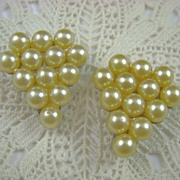 Beautiful Old Simulated Pearl Triangle Dress Clips