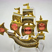 Spanish Damasquinado Pirate Ship Brooch~Toledoware~Signed