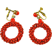 Red, Red Glass Bead Hoop Earrings