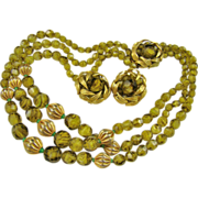 Stunning Eugene Olivine Givre Glass Art Bead and Brushed Gold Tone Demi Parure