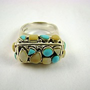 Pink and Blue Turquoise Sterling Silver Ring ~ Thailand