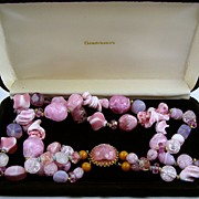 SALE HALF PRICE Stunning Hattie Carnegie Pink Art Glass Necklace
