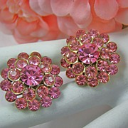 Stunning Circa 1950s Rose Pink Chaton Earrings