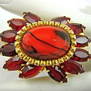 Art Glass, Comet Aurum and Red Rhinestone Brooch