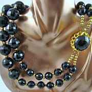 Big Bold Black Double Strand Lucite Bead Necklace