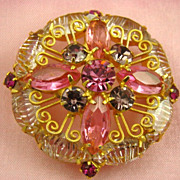 Pink and Amethyst Shades Rhinestone Brooch 1960s