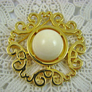 SALE HALF PRICE Vintage Nettie Rosenstein  Ivory Colored Gold Plated Brooch