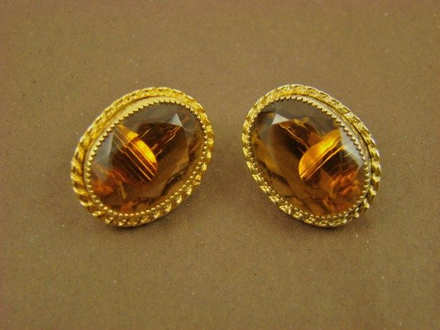 Emmons Amber Glass and Gold Tone Earrings