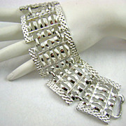 Wide Articulated Panels Rhodium Plated Bracelet