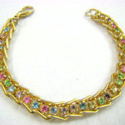 Pastel Rhinestone Tennis Bracelet