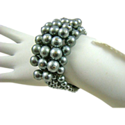 Memory Wire Imitation Black Pearl Cuff Bracelet
