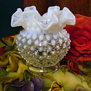1940s Fenton French Opalescent Hobnail Squat Vase