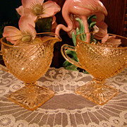 "1930s Miss America ""Diamond Pattern""  Pink Crystal Footed Creamer & Open Sugar"