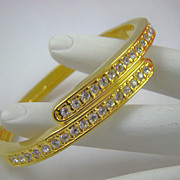 80s Rhinestone Crossover Bangle Bracelet