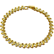 24Kt Gold Plated Rhinestone Tennis Bracelet